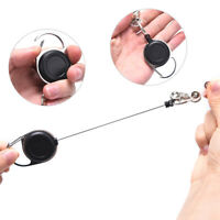 60cm Retractable Keyring Metal Wire Keychain Clip Pull Anti Lost ID Card Hold w/