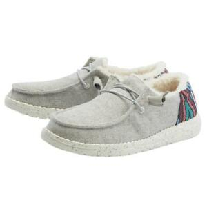 Hey Dude Womens Wendy Funk Wool Shoes Slip-On Loafers -Grey 121413128 - New 2021