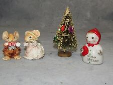 A PORC. ANGEL ORN. & A BOTTLEBRUSH 1950'S TREE + PAIR OF LITTLE CHEESES MICE-AI
