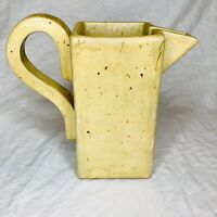 Vintage Stoneware Pitcher Square Signed T.V. Studio Art Pottery MCM Abstract