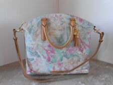 New BRAHMIN LARGE Duxbury CREME TALITHA Floral Leather Satchel $355
