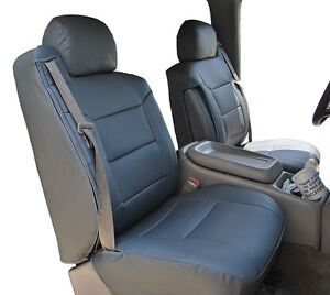 CHEVY SILVERADO 2000-02 CHARCOAL S.LEATHER CUSTOM MADE FRONT SEAT & 2ARM COVERS