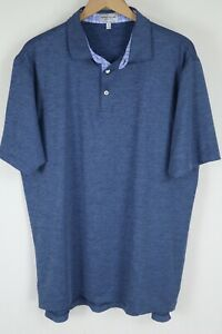 Peter Millar Summer Comfort Mens XL Heathered Blue Stretch Polo S/S Shirt