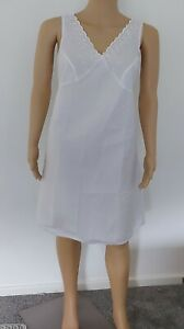 Ladies Womens White Polycotton Full Slip & Embroidery  Shoulders 14 - 24