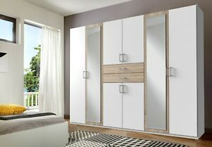 SlumberHaus 'Diver' Large 270cm White, Oak and Mirror Wardrobe with Drawers