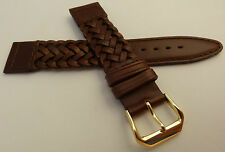 New Kreisler Brown Woven Braided Leather 19mm Watch Band $16.88 Gold Tone Buckle