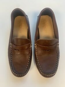 J Crew Crewcuts Boys Leather Driving Moccasins/Loafers Size 1