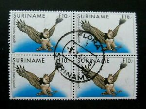Suriname-1985-10F Bird issue-Block of 4-Used