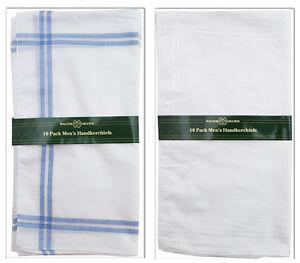 20 Mens Walter Grange Hankies Handkerchiefs White Plain / Coloured Border