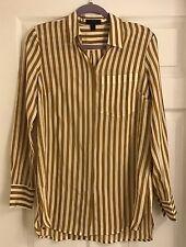 Women's J.Crew Classic Silk Shirt w/ Ochre Stripes, Size 6