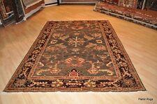 6'x9' Afghan vegetable dyed handmade rug, green, brown, maroon, peach army green