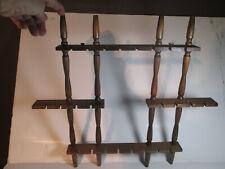 Vintage Souvenir 24 Spoon Collector Wooden Wall Rack Display Holder
