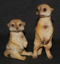 Meerkat Mongoose Statue African Ornament Wildlife Safari Zoo Decorative  set2