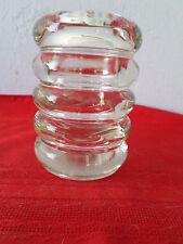 """Clear Glass 4"""" Canister Vanity Storage Jar w/Apple on Lid. -  Heavy. - Unique"""