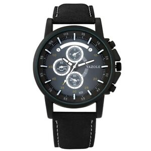 Casual Watch Deco Small Dial Men's Quartz Wristwatch Black/Brown Leather Band