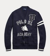 POLO RALPH LAUREN Cotton Letterman Cardigan Navy Size Large