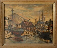 Antique Oil Painting Boat and Harbor Scene w/ Homes, Awesome Painting & NICE!