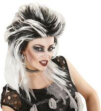 Ladies Black & White Zombie Punk Wig Monster Bride Halloween Scary Fancy Dress