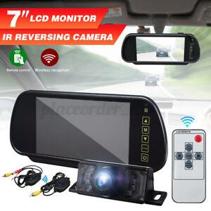 WIRELESS CAR VAN BUS REAR VIEW KIT 7'' LCD MIRROR MONITOR + IR REVERSING CAMERA