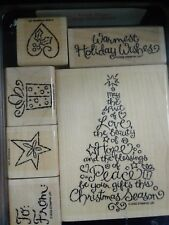 Stampin Up Holiday Wishes Christmas Tag Tree Star 6 Wood Mount Stamps L0718