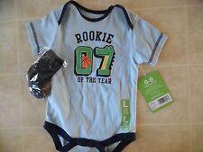 NWT Bon Bebe Baby Boy Outfit Bodysuit Socks Set 3-6 Months Rookie Blue