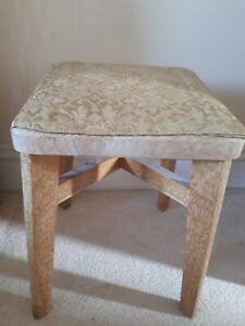 Vintage Short Retro Kitchen Stool Wood with Fabric seat 50s 60s