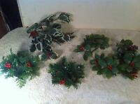 Lot of 6 Vintage Plastic Christmas Candle Ring Green Holly Red Berry Wreath