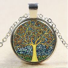 silver Glass Chain Pendant Necklace #137 Vintage Tree of Life Cabochon Tibetan