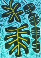 Original Painting Of monstera & Tropical Leaves On Board,cheeseplant,Foliage Art