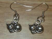 Tibetan Silver Cute Relaxing Cat Charm Earrings