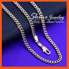 18K ROSE GOLD GF N64 CURB RING LINKS CHAINS MENS WOMENS SOLID NECKLACE GIFT 50CM