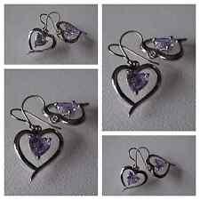 New Womens Purple Heart Shape Drop/ Dangle Earrings on a Titanium French Hook