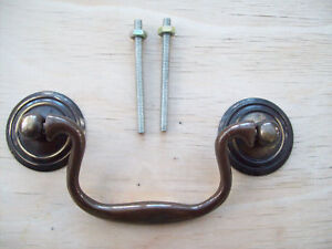 SOLID ANTIQUE BRASS CABINET CUPBOARD DRAWER DROP BAR SWAN NECK PULL SWING HANDLE
