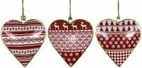 SET OF 3 NORDIC STYLE RED WHITE GOLD METAL HEART DECORATIONS 10.5 X 10 X 1.5CM