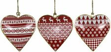 Set of 3 nordic style red white gold metal heart decoration 10,5 x 10x