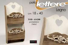 PORTA LETTERE H40*18 CM LEGNO PARETE MARRONE BIANCO DECO SHABBY CHIC TOD 614200