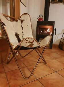 Brown Real Leather Armchair Vintage Butterfly Chair for living room, Bedroom