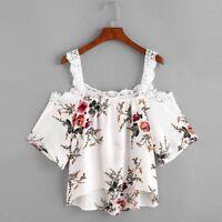 mujer manga corta Camisetas de encaje flores Hombro Descubierto Camisa Blusa