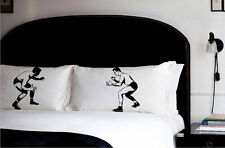 PILLOW fighting WRESTLING pillowcases fight early vintage sport retro case set