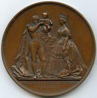 1856 France Copper Medal by Caque Baptism of Prince Louis Napoleon Bonaparte