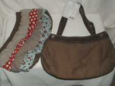Thirty-One Solid Brown Skirt Purse w/Ruffle Interchangable Skirt NWT