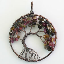 Natural Tourmaline Chip Beads Tree of Life Wire Wrap Chakra Round Copper Pendant