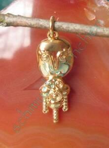 Rimorchio Inca Maya Aztechi Figura Repro Argento Sterling 925 Placcato Oro