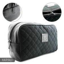 Mens Large Travel Shaving Kit Toiletries Cosmetic Carrying Bag Textile Leather