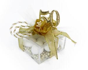 Bonboniere Box Plexiglas Mit Blume Gold 50 Vollmassiv Aussteller/Eheringe