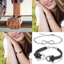 Cupimatch 2PCS Love Infinity Stainless Steel Leather Couples Bracelet Bangle