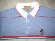 Vintage DISNEY Mickey Mouse Golf Blue White REd Polo Knit Shirt USED MEDIUM M