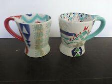 Every Piece Handpainted Ceramic Mugs Cups 12 oz Set of 2 Vivid Graphic
