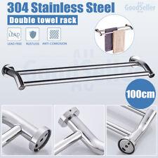 Bathroom Double Towel Rail Rack Holder 2 Bar 1000mm Hanger Stainless Steel 2018