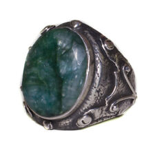 Antique Sterling silver mens ring, Emerald Natural gemstone, handmade ring